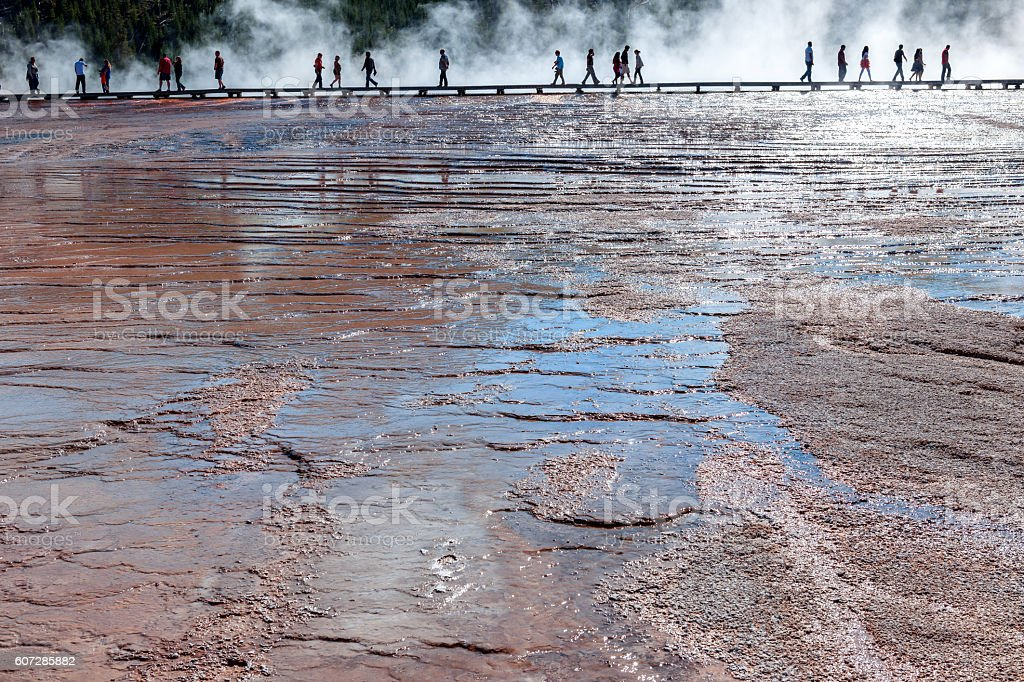 Tourists walk along a boardwalk,Grand Prismatic Springs,Yellowstone,Usa stock photo