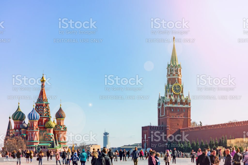 Tourists walkin on Red Square in Moscow stock photo