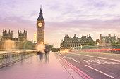 dusk,London,UK,motion blur,lilac,light trail