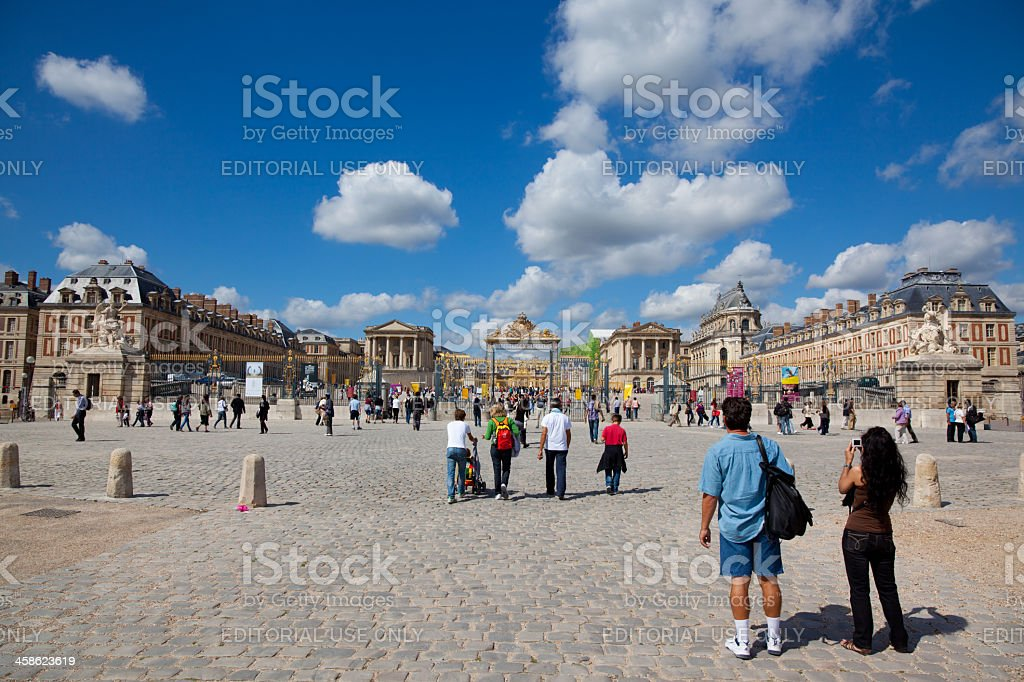 Tourists Walking at Chateau Versailles Entrance, France stock photo