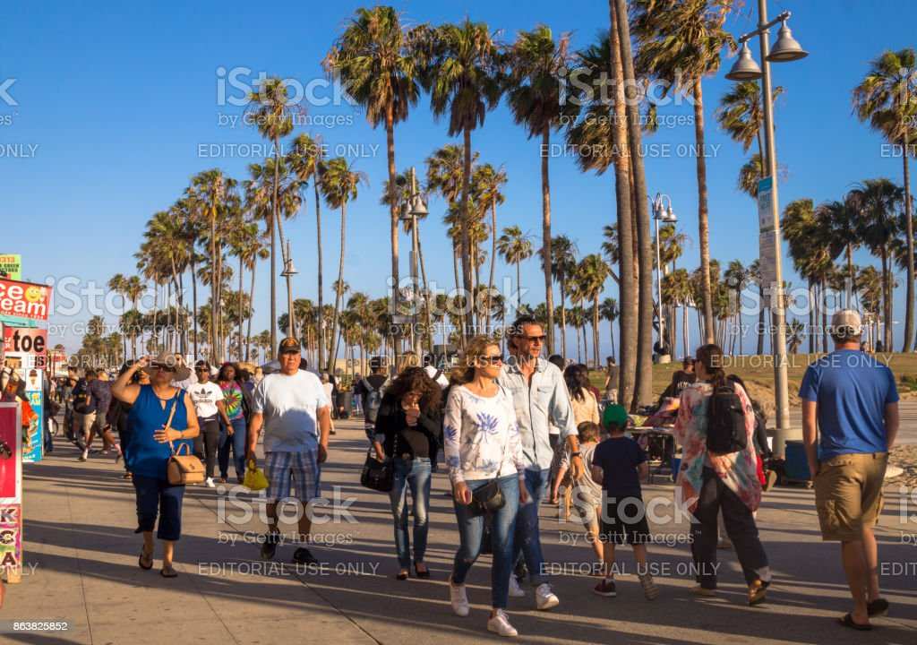 Tourists walking at Venice Beach. Tourist and leisure recreation center in Los Angeles, California stock photo
