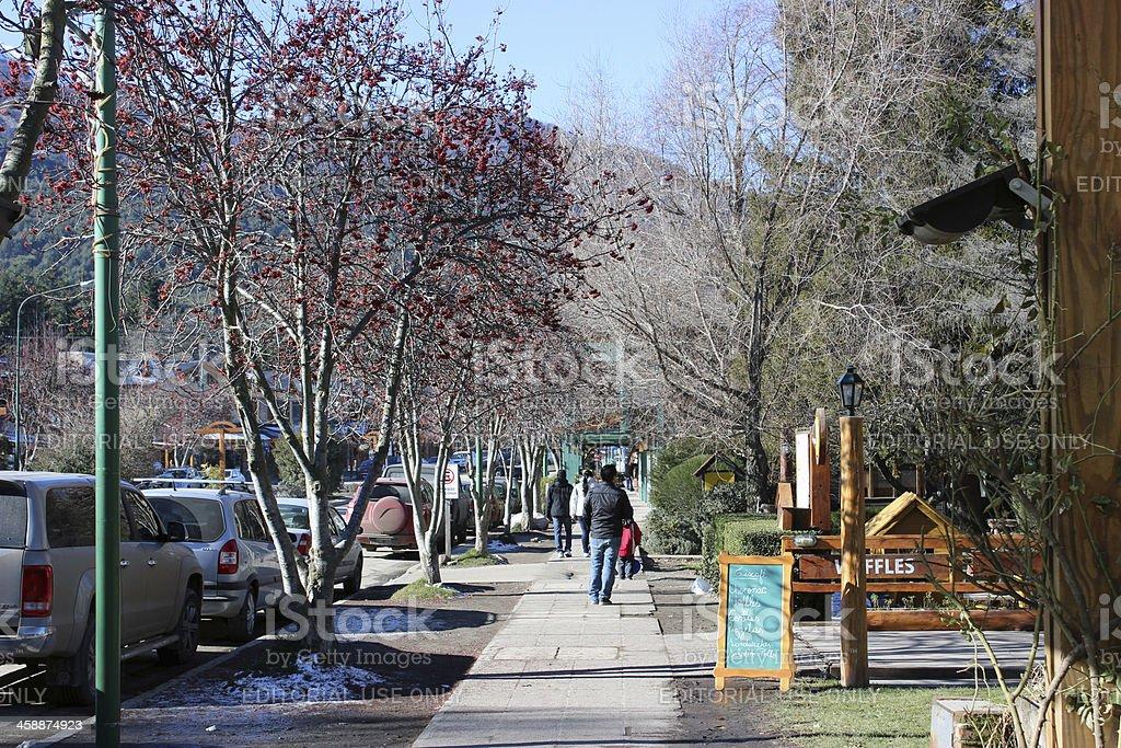 Tourists walking at Villa La Angostura City - Argentina stock photo