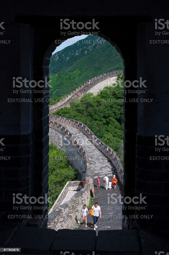 Tourists walking in a stretch of the Great Wall of China in Mutianyu, China royalty-free stock photo