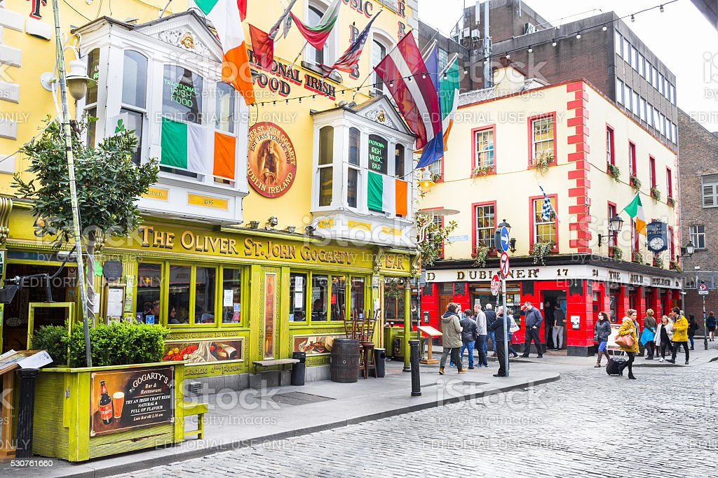 Tourists walking in the Temple Bar area, Dublin, Ireland stock photo