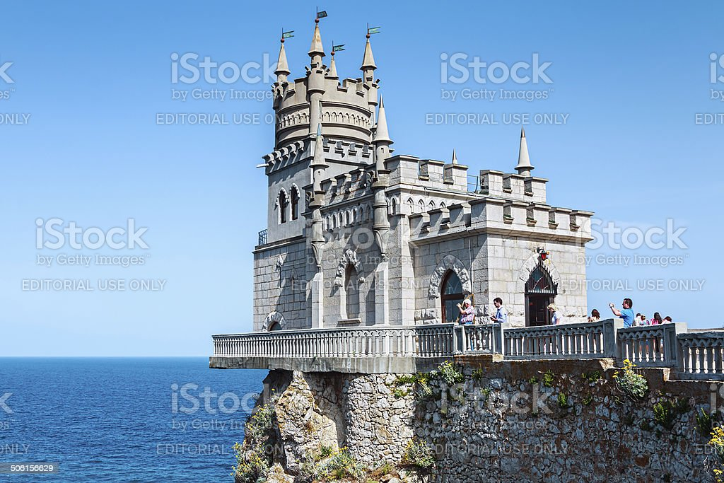 Tourists walking near the Castle Swallow's Nest stock photo