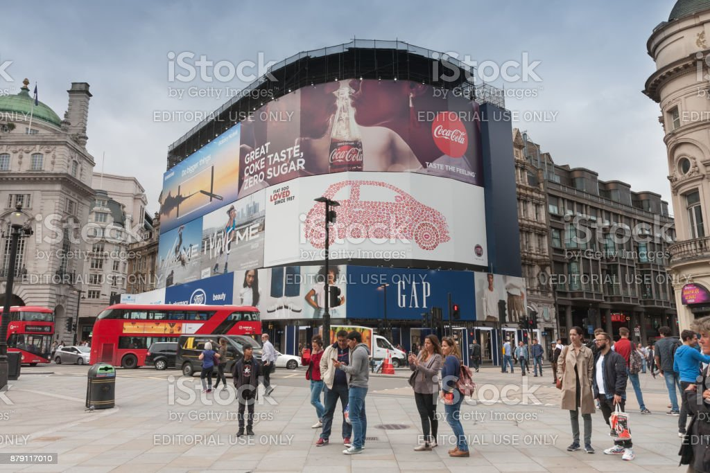 Tourists walking on Piccadilly Circus stock photo