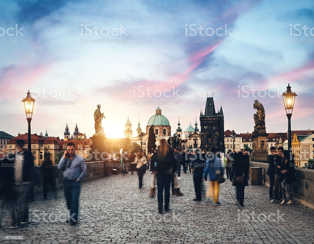 Tourists Walking Over Charles Bridge stock photo
