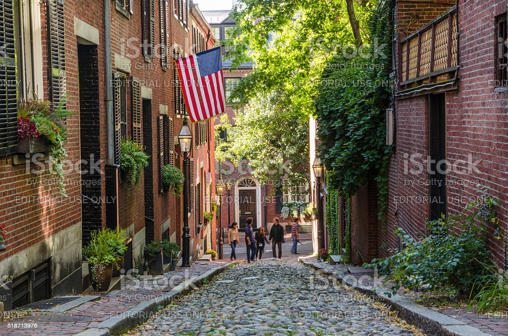 Tourists wandering around the Historic District of Beacon Hill, Boston stock photo