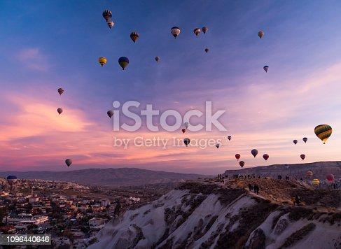 colorfull sky with hot air Ballons at Göreme, Cappadocia