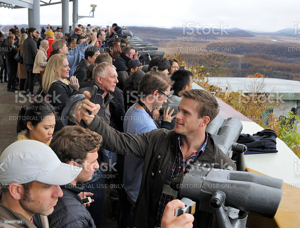Tourists watching North Korea stock photo
