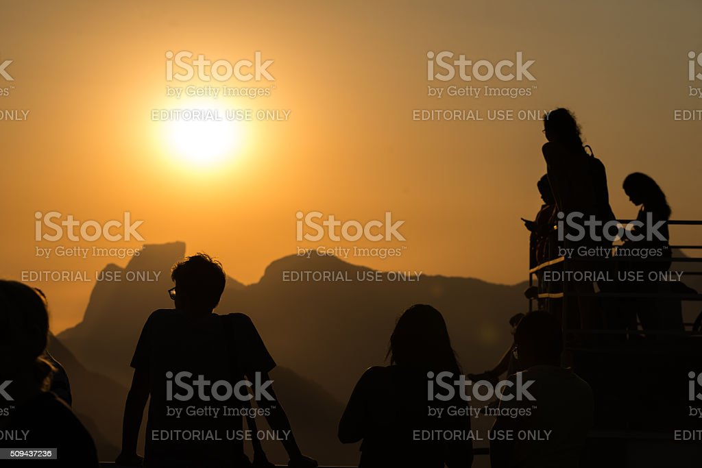 Tourists watching the sunset in Rio stock photo