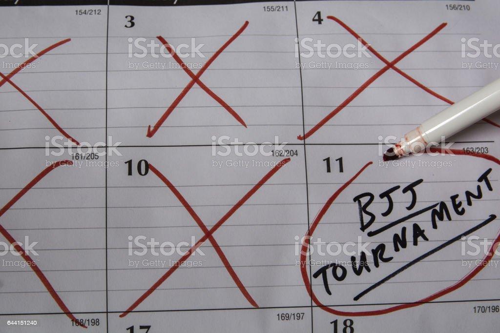 BJJ Tournament Calendar stock photo