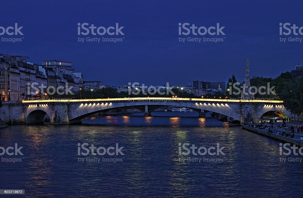 Tournelle bridge by night - HDR stock photo