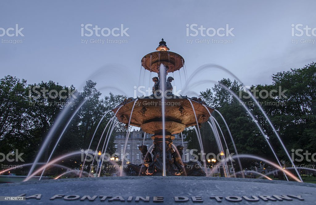 Tourny Fountain  and Quebec Parliament, Canada royalty-free stock photo