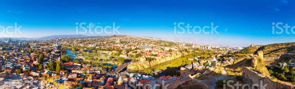 Tourustic ride on the funicular, aerial view from the top on the houses with traditional wooden carving balconies of Old Town of Tbilisi, Georgia stock photo