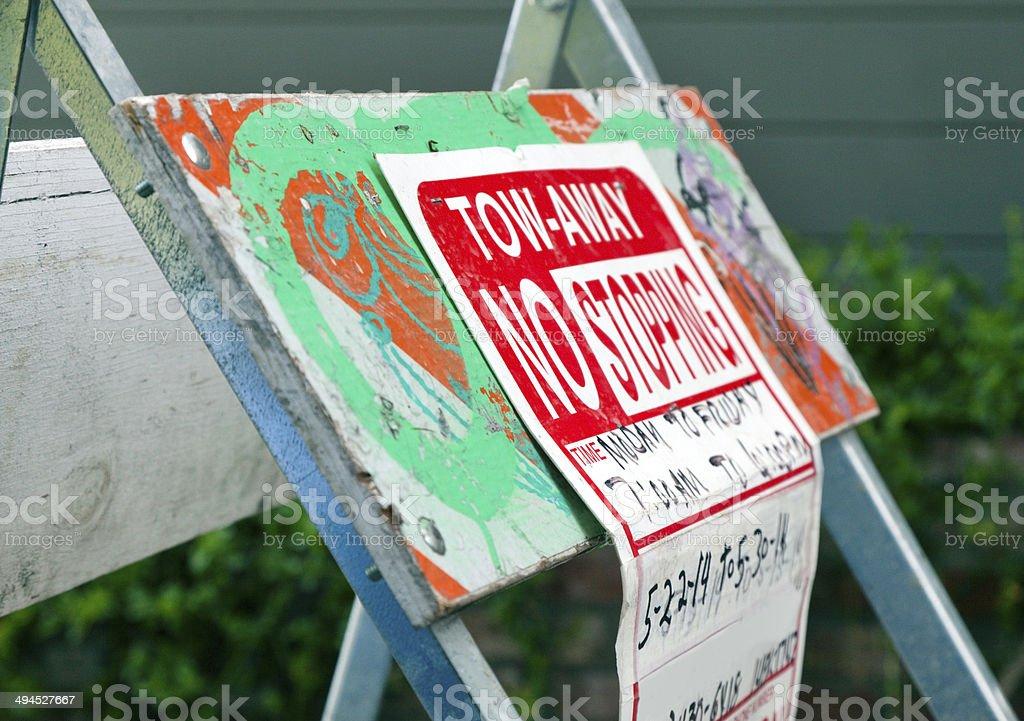 Tow Away Sign stock photo