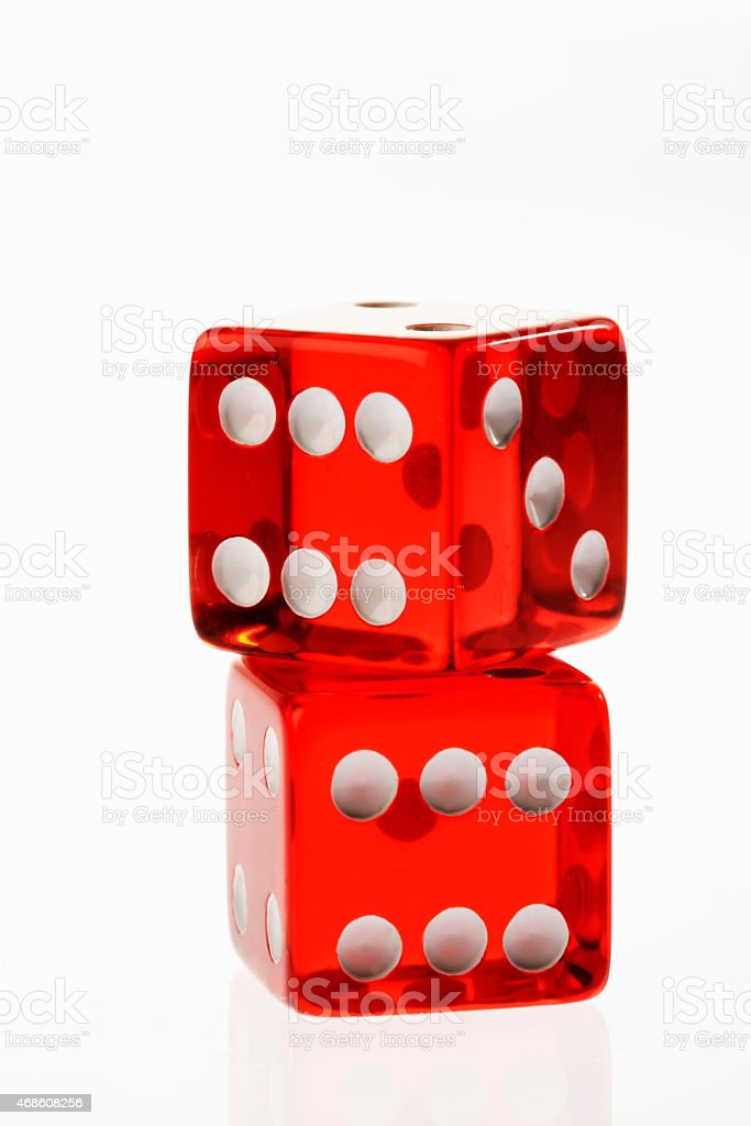 Tow red dices stock photo