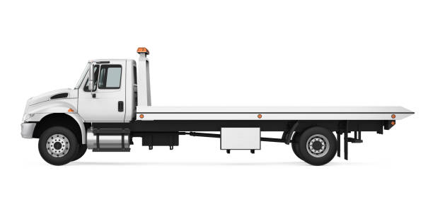 Tow Truck Isolated Tow Truck isolated on white background. 3D render carrying stock pictures, royalty-free photos & images