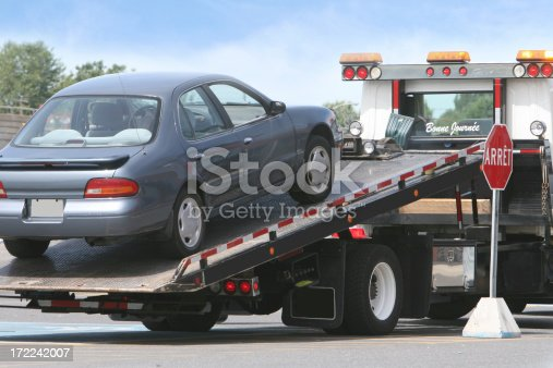 Car on a tow truck.
