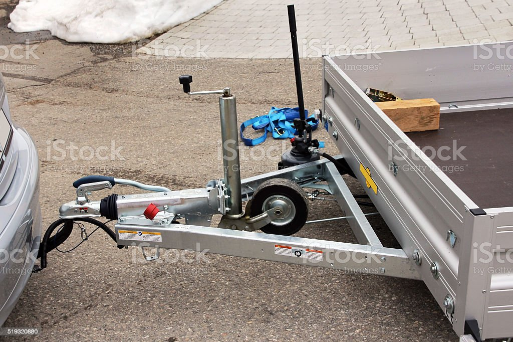 Towbar and trailer stock photo