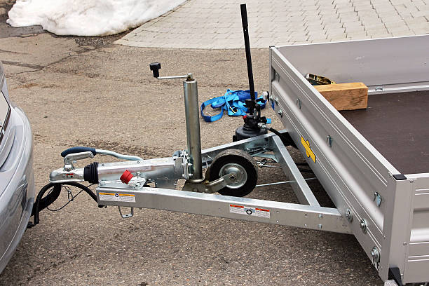 Towbar and trailer Towbar and trailer on a car vehicle trailer stock pictures, royalty-free photos & images