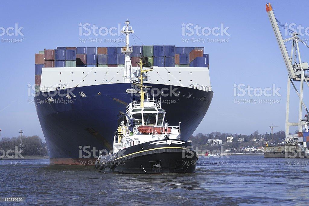 Towed Ship stock photo