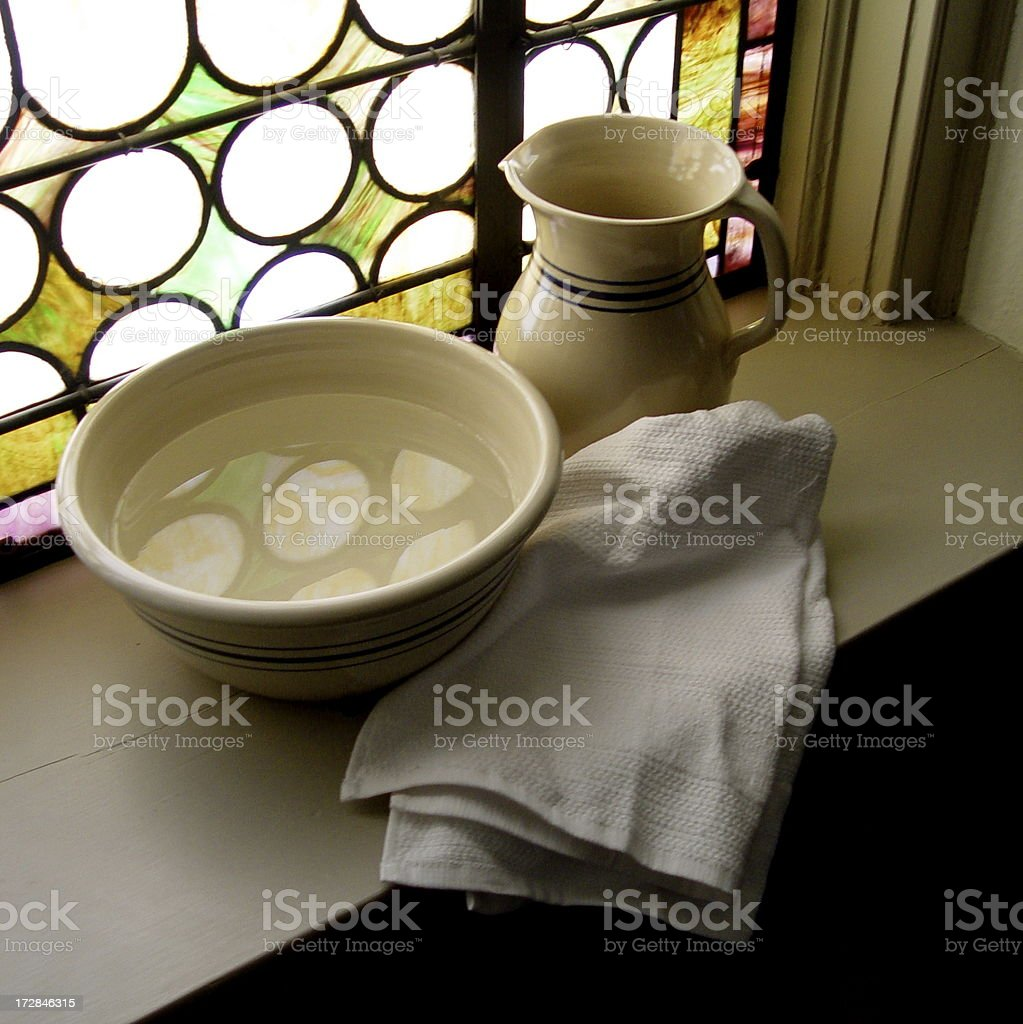 Towel and Basin stock photo