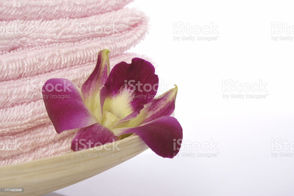 Towel and Orchid royalty-free stock photo