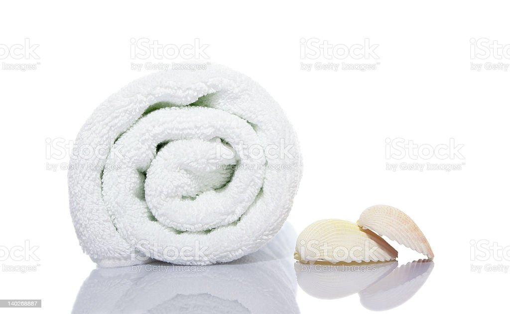 towel and shells royalty-free stock photo