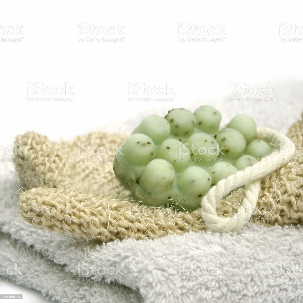Towel and Sisal Glove royalty-free stock photo