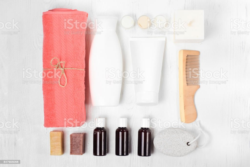 Towel cosmetics spa comb hair lotion stock photo