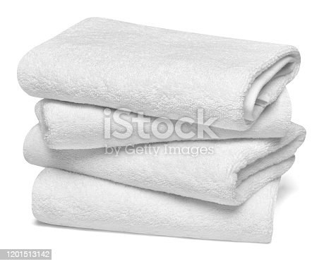 close up of a stack of white towels bathroom on white background