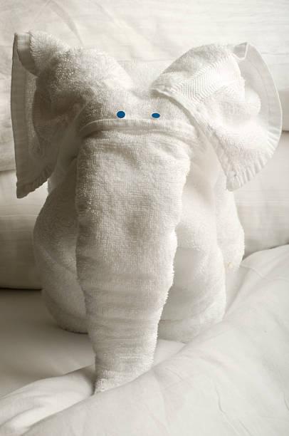 handtuch mit elefantenmotiv - badmöbel gäste wc stock-fotos und bilder