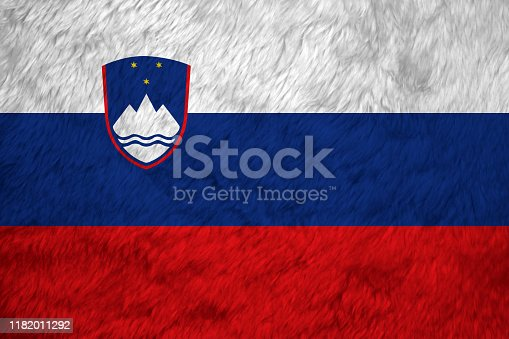 istock Towel fabric pattern flag of Slovenia, Crease of Slovenian flag background. 1182011292
