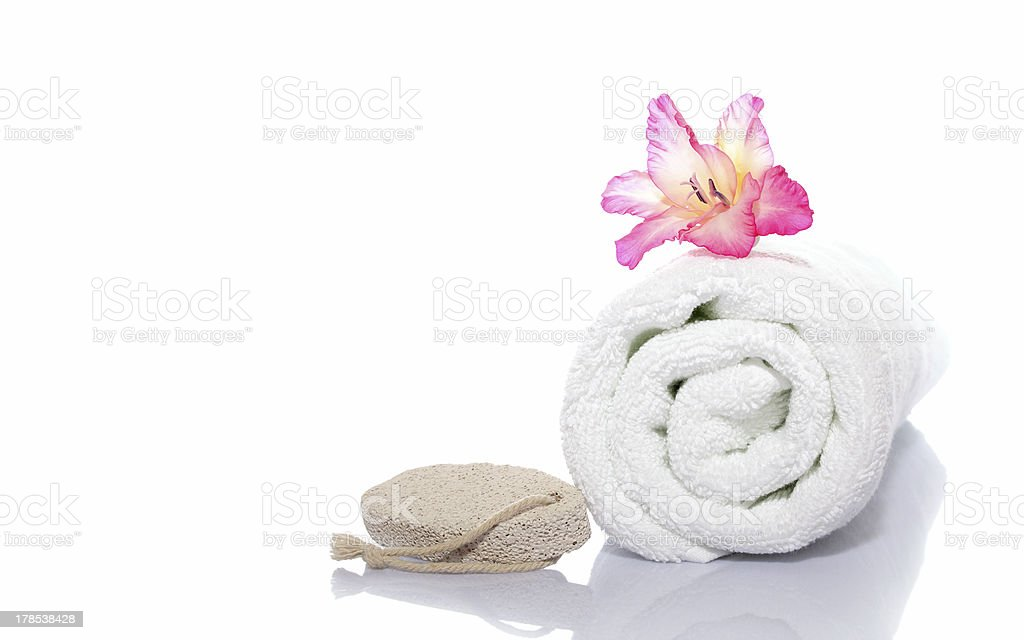 towel, gladiola and pumice royalty-free stock photo