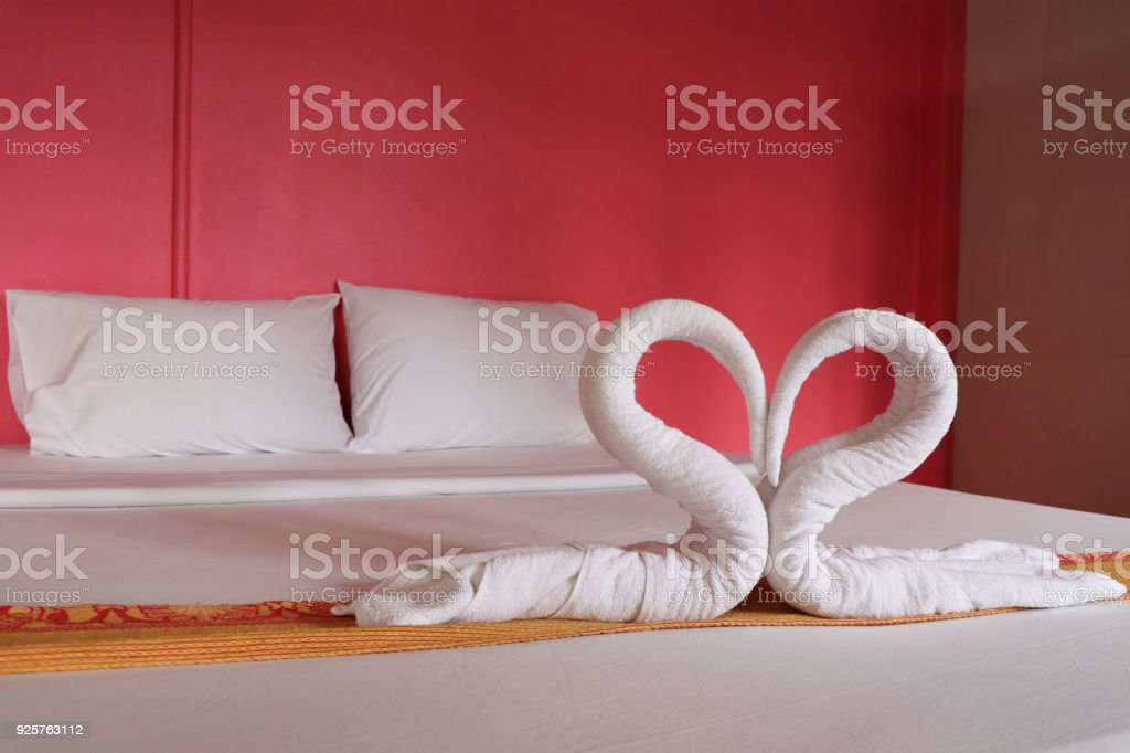 Towel Heart Shape White Color Decorate On Bed Love Design Romantic