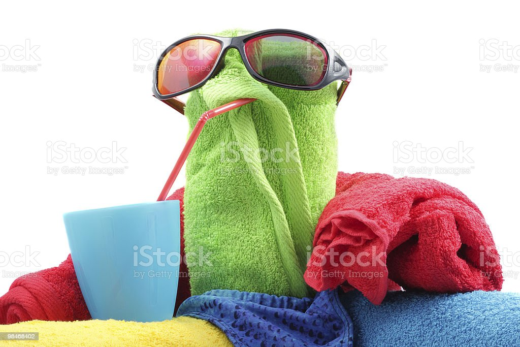 Towel person with drink royalty-free stock photo
