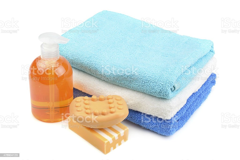 Towel, soap, shampoo royalty-free stock photo
