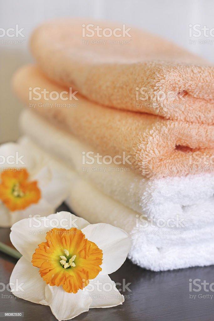 Asciugamani e daffodils foto stock royalty-free
