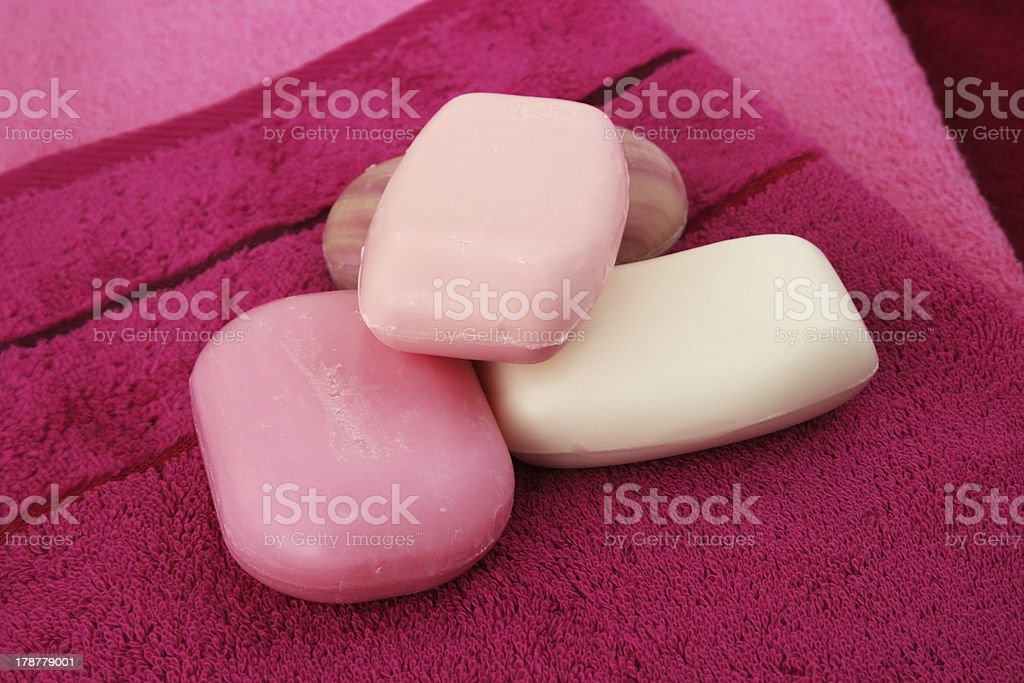 Towels and soaps royalty-free stock photo