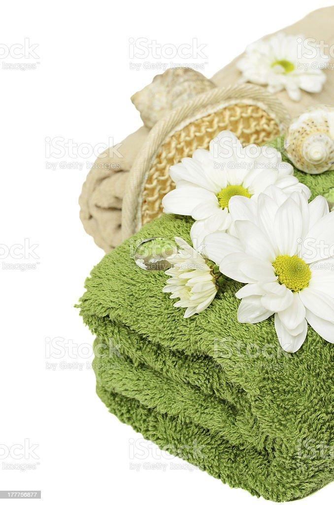 Towels and sponge for shower royalty-free stock photo