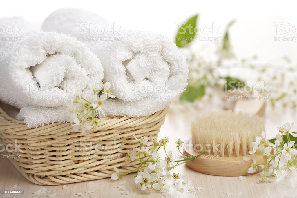 towels flowers and massage brush royalty-free stock photo