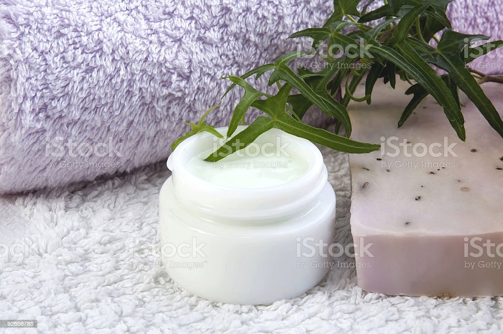 towels, lavender soap, cream, ivy - beauty treatment royalty-free stock photo