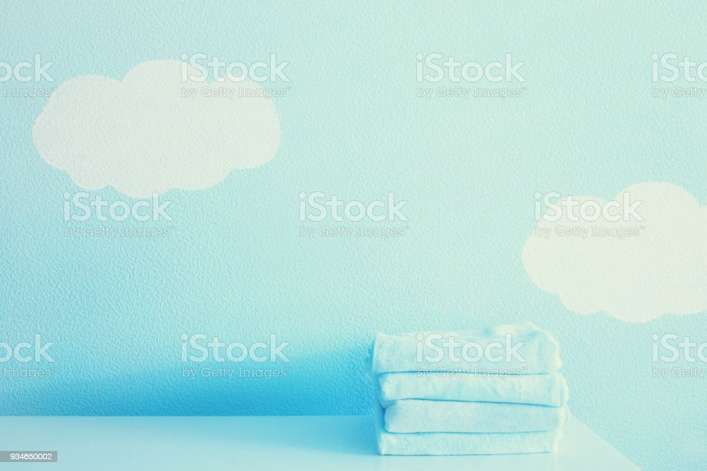 Towels on the baby table stock photo