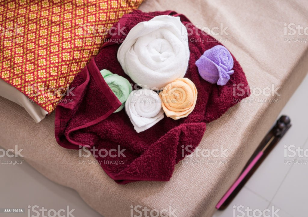 Towels Set Preparing For Thai Massage Spa Course Stock Photo