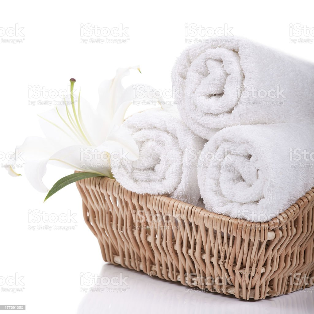 Towels with lilly stock photo