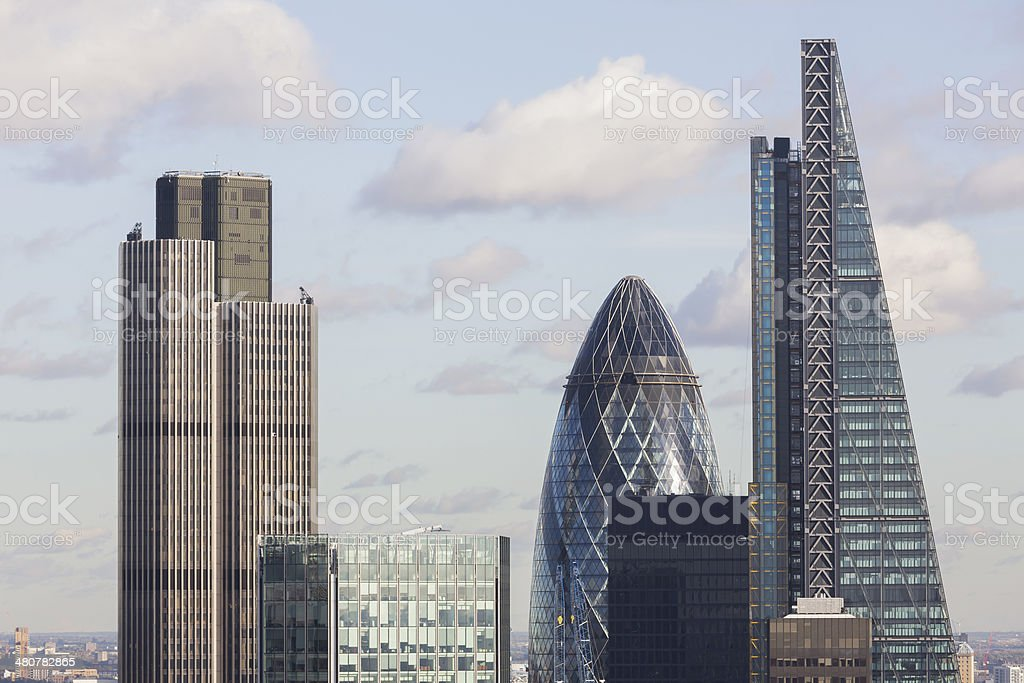 Tower 42, 122 Leadenhall Street and 30 St Mary Axe stock photo