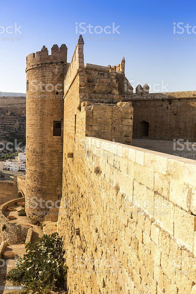 Tower, Alcazaba of Almeria, Spain stock photo