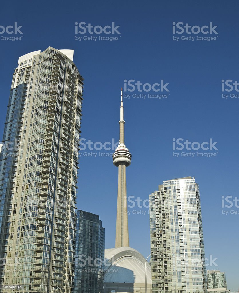 CN Tower and dome stadium royalty-free stock photo