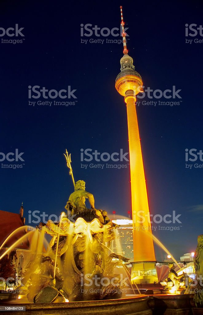 TV Tower and Neptunbrunnen at night, Berlin royalty-free stock photo